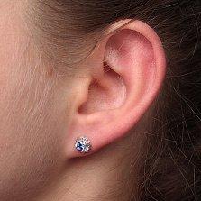 Серебряные серьги-пуссеты Мальвинки с синими фианитами