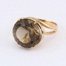 Кольцо из красного золота с раухтопазом Румия