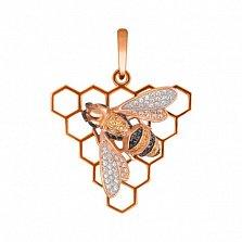 Подвеска Медовая пчела из красного золота