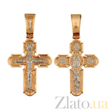 Золотой крестик с белым родием Неупиваемая чаша VLT--КС1-3042-2