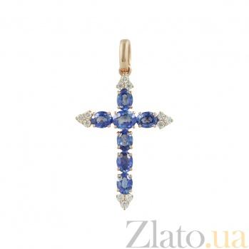 Золотой крестик с сапфирами и бриллиантами Небсесный свет 000026744