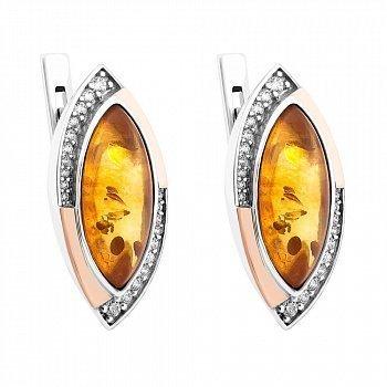 Серебряные серьги с золотыми накладками, янтарем и фианитами 000072491