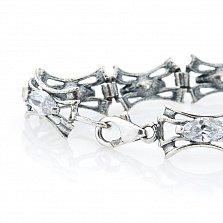 Серебряный браслет Айвори с литыми звеньями и белыми фианитами