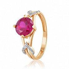 Золотое кольцо Мираж с корундом рубина и фианитами