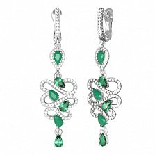 Серебряные серьги Агния с зеленым агатом, зеленым кварцем и фианитами