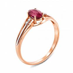 Кольцо из красного золота с рубином и бриллиантами 000135926