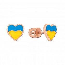 Золотые серьги-пуссеты Люблю Украину в красном цвете в виде сердечек с цветной эмалью