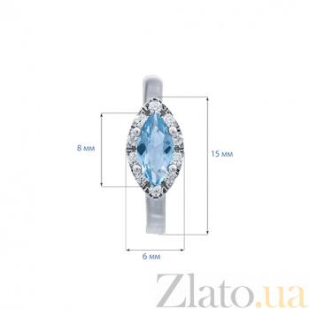 Серьги серебряные с голубым цирконием Сати AQA--MS-148(S)-ET