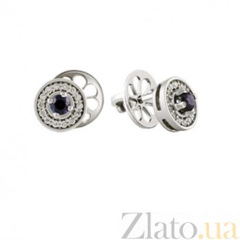Золотые серьги с сапфирами и бриллиантами Венецианка KBL--С2179/бел/сапф
