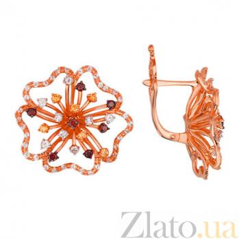 Серьги из красного золота с фианитами Орхидея VLT--Т2289-2