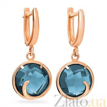 Золотые серьги-подвески Дана с голубыми топазами 000097035