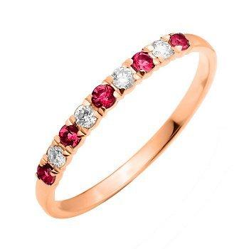 Кольцо из красного золота с рубинами и бриллиантами 000135957