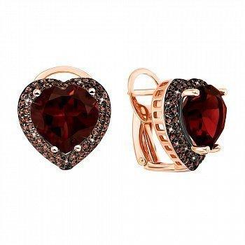 Сережки з червоного золота із гранатами і фіанітами 000104233