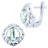 Серебряные серьги Гиацинта с зелеными аметистами