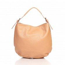 Кожаная сумка на каждый день Genuine Leather 8944 розового цвета с боковыми карманчиками на молнии