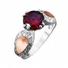 Серебряное кольцо Джулия с золотой вставкой и фианитами