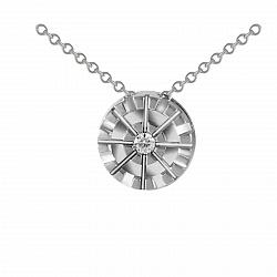 Золотое колье Скандинавия в белом цвете с бриллиантом