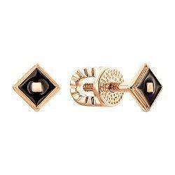 Серьги-пуссеты из красного золота с черной эмалью 000139932