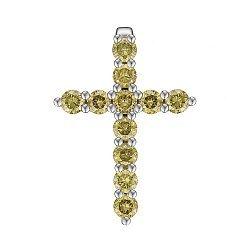 Крестик из белого золота с желтыми бриллиантами 0.8ct 000145328