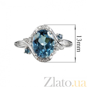 Золотое кольцо с топазом и бриллиантами Джанин 000026921