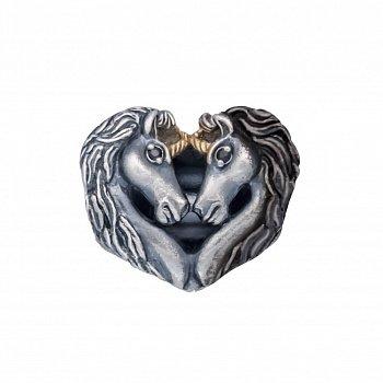 Срібний кулон-шарм Закохані єдинороги з чорними фіанітами 000072615