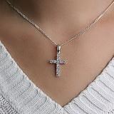 Серебряный крестик с белым цирконием Небесный свет