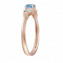 Золотое кольцо Мальвина с голубым топазом и бриллиантами