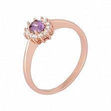 Позолоченное кольцо из серебра с фиолетовым цирконием Ирида