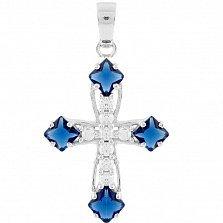 Серебряный крестик Эвелин с синтезированным сапфиром и фианитами