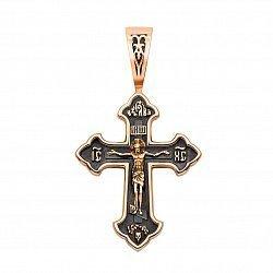 Православный крестик из красного золота с чернением 000133327