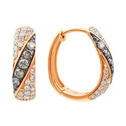 Золотые серьги в комбинированном цвете с бриллиантами 000139430