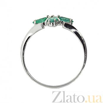 Серебряное кольцо с бриллиантом и изумрудами Грация ZMX--RDE-5504-Ag_K