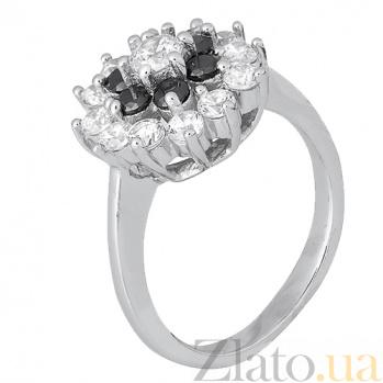 Серебряное кольцо Дейнерис с черными и белыми фианитами 000028145