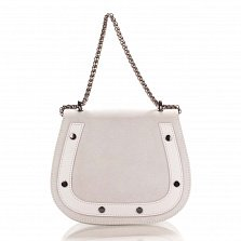 Кожаный клатч на каждый день Genuine Leather 1708 белого цвета с ручкой-цепочкой через плечо