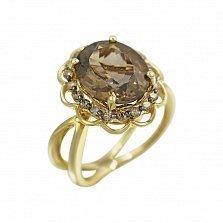 Кольцо из желтого золота Гармония с коньячными бриллиантами и раухтопазом