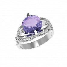 Серебряное кольцо Нинель с аметистом и фианитами