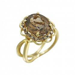 Кольцо из желтого золота с коньячными бриллиантами и раухтопазом 000080876