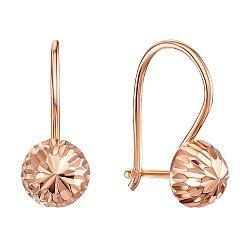 Серьги из красного золота с алмазной гранью 000106097