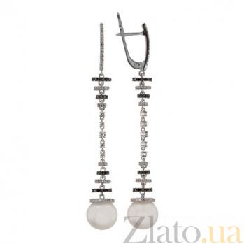 Серьги-подвески с цирконием и белым жемчугом Аделина VLT--ТТ2278