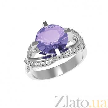 Серебряное кольцо Нинель с аметистом и фианитами 000079721