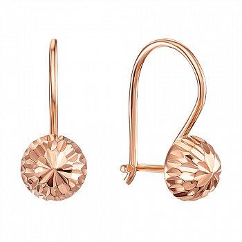 Сережки з червоного золота із алмазною гранню 000106097