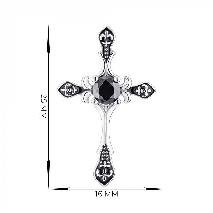 Серебряный крестик с эмалью и фианитом 000148518 000148518