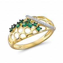 Кольцо Элизабетта из желтого золота с гранатами и бриллиантами
