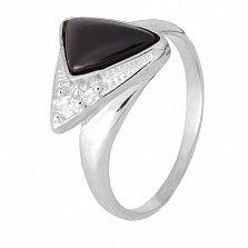 Кольцо из серебра Китнисс с ониксом и фианитами
