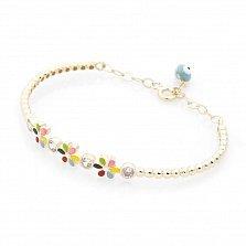 Золотой браслет Вальс цветов с фианитами, разноцветной эмалью и полимером