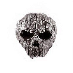 Кольцо-череп из серебра Wooden с чернением 000091399