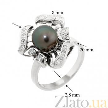Золотое кольцо Rosie с черным жемчугом и бриллиантами VLA--12459