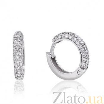 Серьги-кольца из белого золота Бриллиантовая россыпь EDM--С7422/1