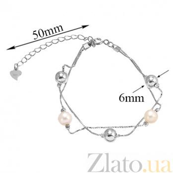 Серебряный браслет на ногу Valentine с жемчугом 000035121