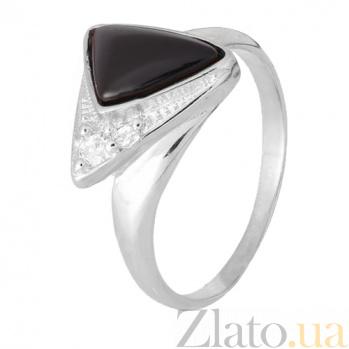 Кольцо из серебра Китнисс с ониксом и фианитами 000028344
